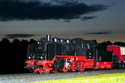 Steam Locomotive, Locomotive, Night Photograph, Railway