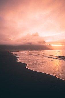 Afterglow, Sea, Sky, Water, Sun, Ocean, Cloud, Sunrise