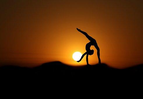 Gymnast, Sunset, Silhouette, Sports, Woman, Yoga