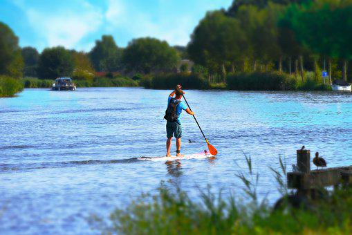 Man, Supping, Paddle, Paddleboarding, Standing, Water