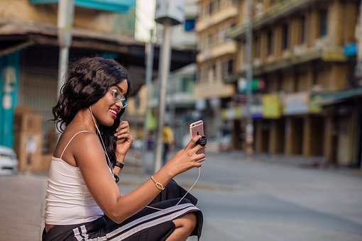 Woman, Using, Mobile, Phone, Internet, Technology