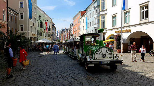 Street Scene, Train, Tourism, Facades, Flags, Decorated