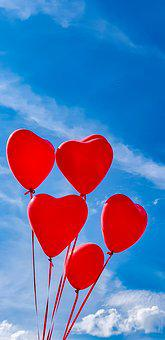 Heart, Balloons, Love, Sky, Veloben, Fall In Love