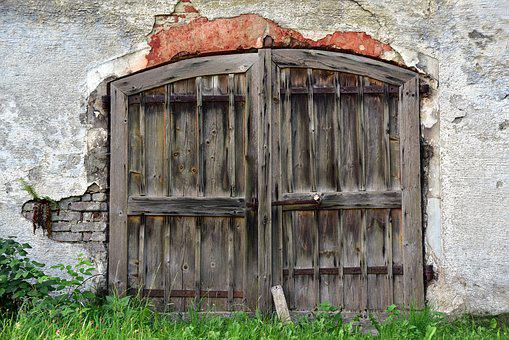Wall, Old, Lost Places, Ruin, Goal, Wooden Gate