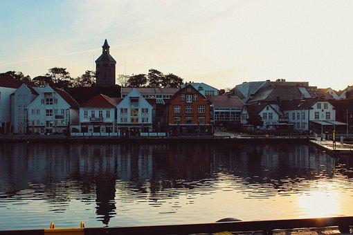 Stavanger, Norway, Landscape, City, Water, Port, House