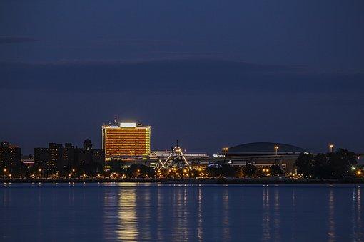 Buffalo, New York, Waterfront, Lights, Night, City