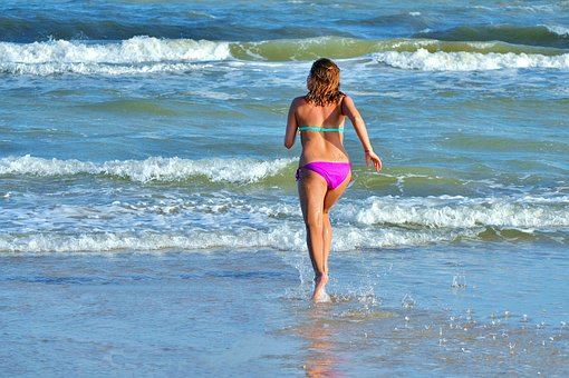 Beach, Summer, Babe, Running, Ocean, Wave, Travel