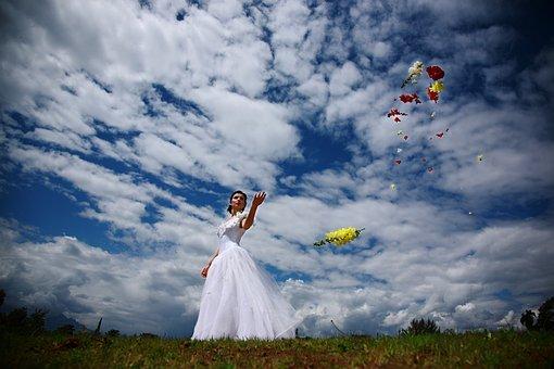 Bridal, Wedding Dress, Flower, Pose, Model, White