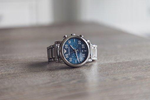 Chrono, Watch, Silver, Blue, Wrist Watch, Armani, Chic