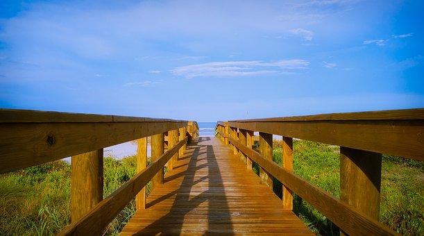 Access To The Beach, Railing, Beach, Wood, Sea, Sky