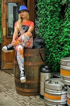 Café, Outdoor Café, Barrels, Pose, Near The Cafe