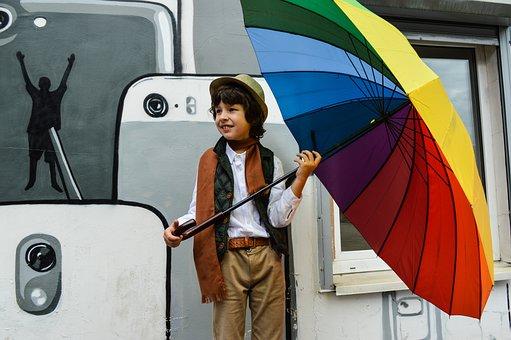 Boy, Autumn, Umbrella, Bright Colors, Bright Autumn