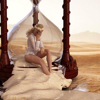 Hourglass, Shattered, Broken, Girl, Render, Desert