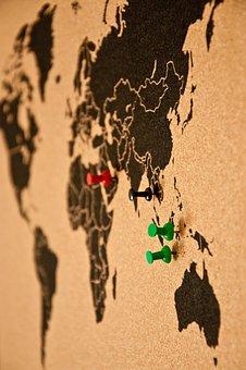 Pin Board, Bulletin Board, Map Of The World