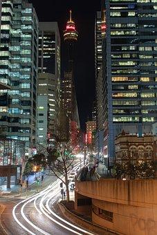 Sydney, Street, Night, Center, Point, Town, Skyline