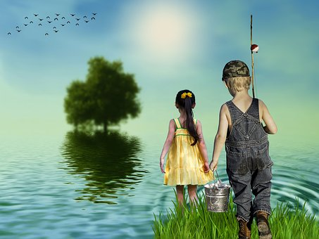 Sunset, Children, Fishing, Girl, Child, Summer, Nature