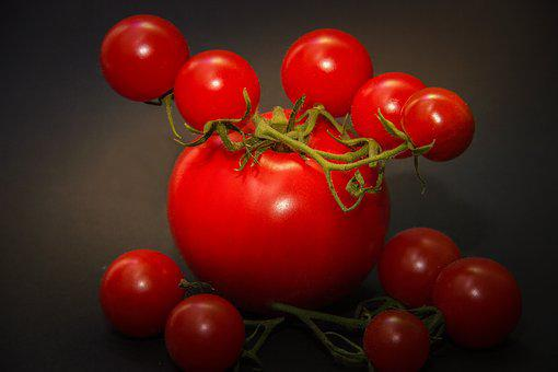 Tomatoes, Red, Green, Stalk, Macro, Close Up