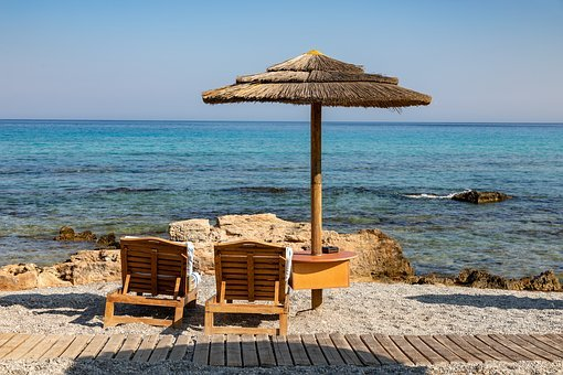Sea, Beach Chairs, Coast, Holiday, Water, Relax