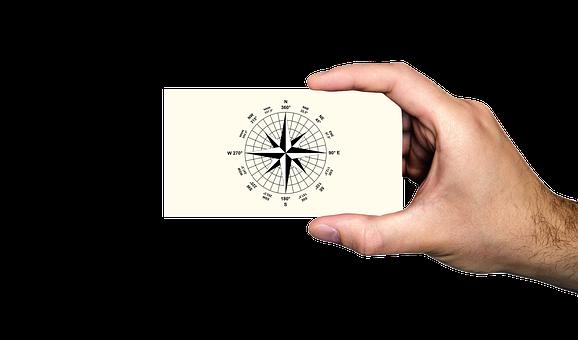 Hand, Keep, Compass, Business Card, Orientation