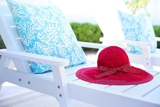 Deck Chair, Lounger, Lounge Chair, White, Hat