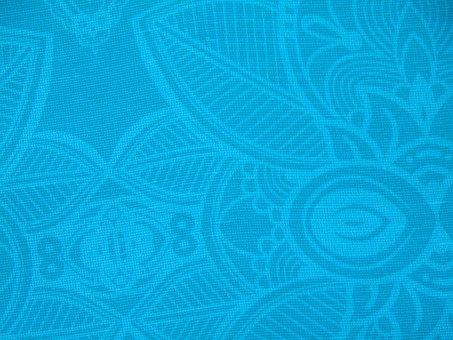 Fabric, Print, Texture, Blue, Background, Decoration