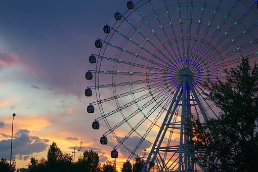 Ferris Wheel, Cabin, Astana, Kazakhstan, Duman, View
