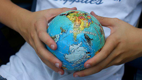 Young People, Globe, Puzzle, Continents, Earth, Global
