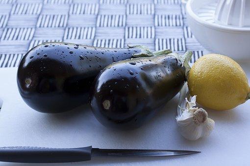 Eggplant, Lemon, Garlic, Lemon Squeezer, Knife