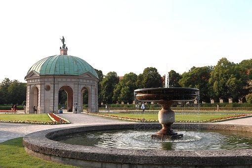 Park, Courtyard Garden, Munich, Fountain, Waters