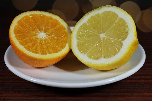 Lemon, Orange, Yellow, Healthy, Fruit, Food