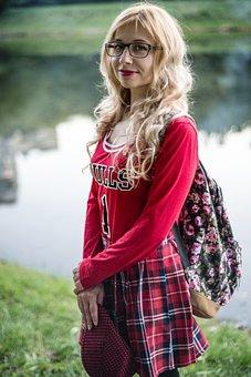 Near The Lake, Lake, Blonde, Glasses, Blond, Curls