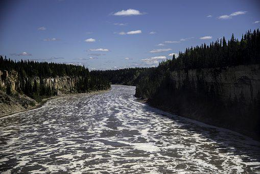 River, Water, Nature, Sky, Trees, Gorge, Landscape