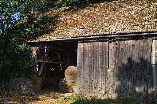 Old Barn, Agriculture, Hay Bales, Straw, Cattle Feed