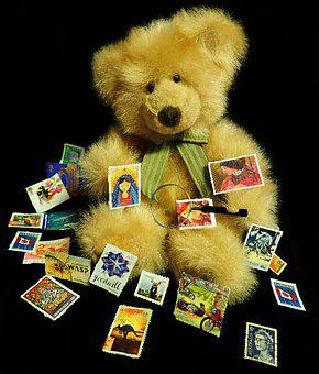 Teddy, Bear, Stamps, Collecting, Hobby, Communication