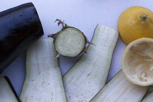 Eggplant, Sliced, Lemon, Cutting Board, Preparation
