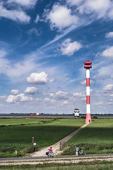 Lighthouses, Dike, Sky, Landscape, North Sea, Nature