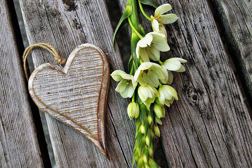 Feeling, White, Flower, Love, Heart, For You, Wooden