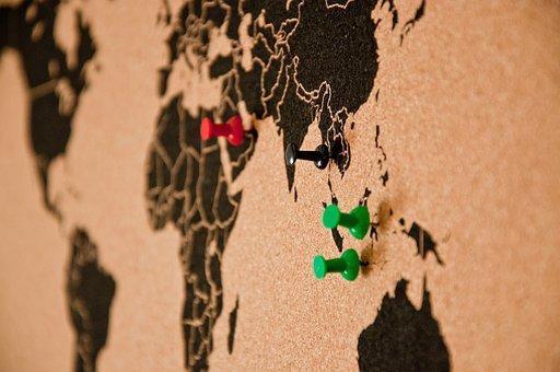Bulletin Board, Pin Board, Map Of The World