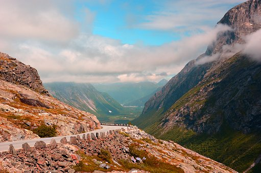 Landscape, Mountains, Mountain Road, Norway, Clouds