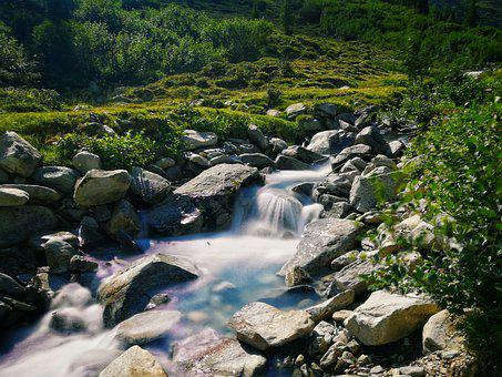Waterfall, Stones, Water, Nature, Landscape, Bach, Rock