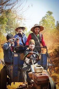Myanmar, Happiness, People, Landscape, Asia, Farmer