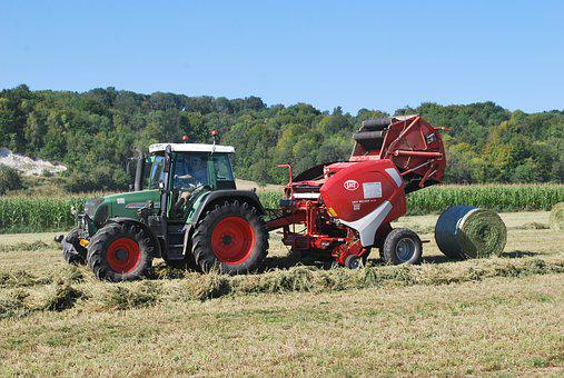 Agriculture, Tractor, Press, Field, Balls Round, Hay