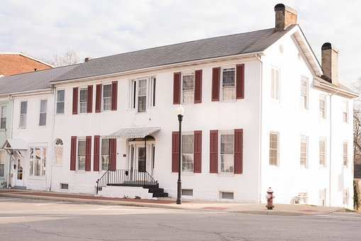 Bed And Breakfast, Red Shutters, White House