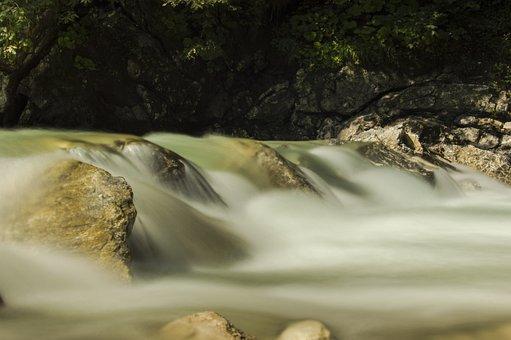 Water, River, Bach, Stones, Pebble, Long Exposure, Flow