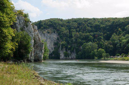 Danube, Danube Gorge, Rock, Trees, Water, River, Waters