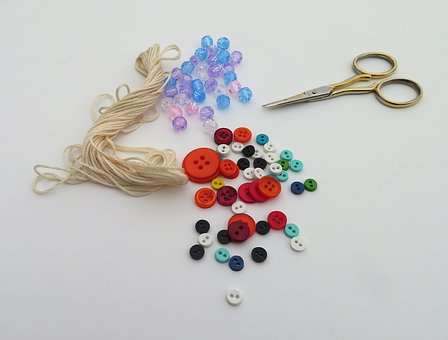 Crafting, Sewing, Thread, Scissors, Buttons, Beads