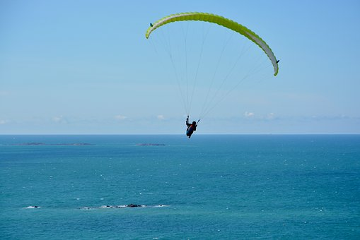 Paragliding, Flight Over Sea, Sea, Blue Sky