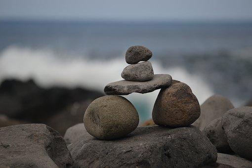 Zen, Stones, Bridge, Beach, Sea, Atlantic, Madeira