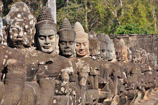 Angkor, Statues, Demons, Cambodia, Southeast, Asia