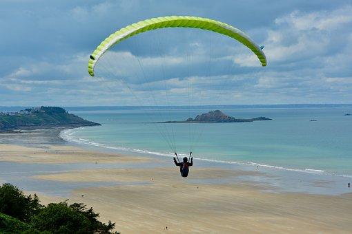 Paragliding, Paraglider, Veil Yellow Green, Sport